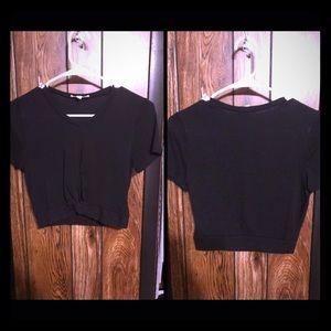 LA hearts black infinity knot crop top shirt